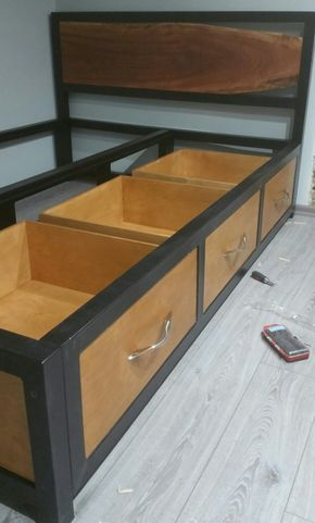 Steel Frame Bed With Storage Live Edge Headboard Bed Frame Design Bed Frame With Storage Double Bed With Storage