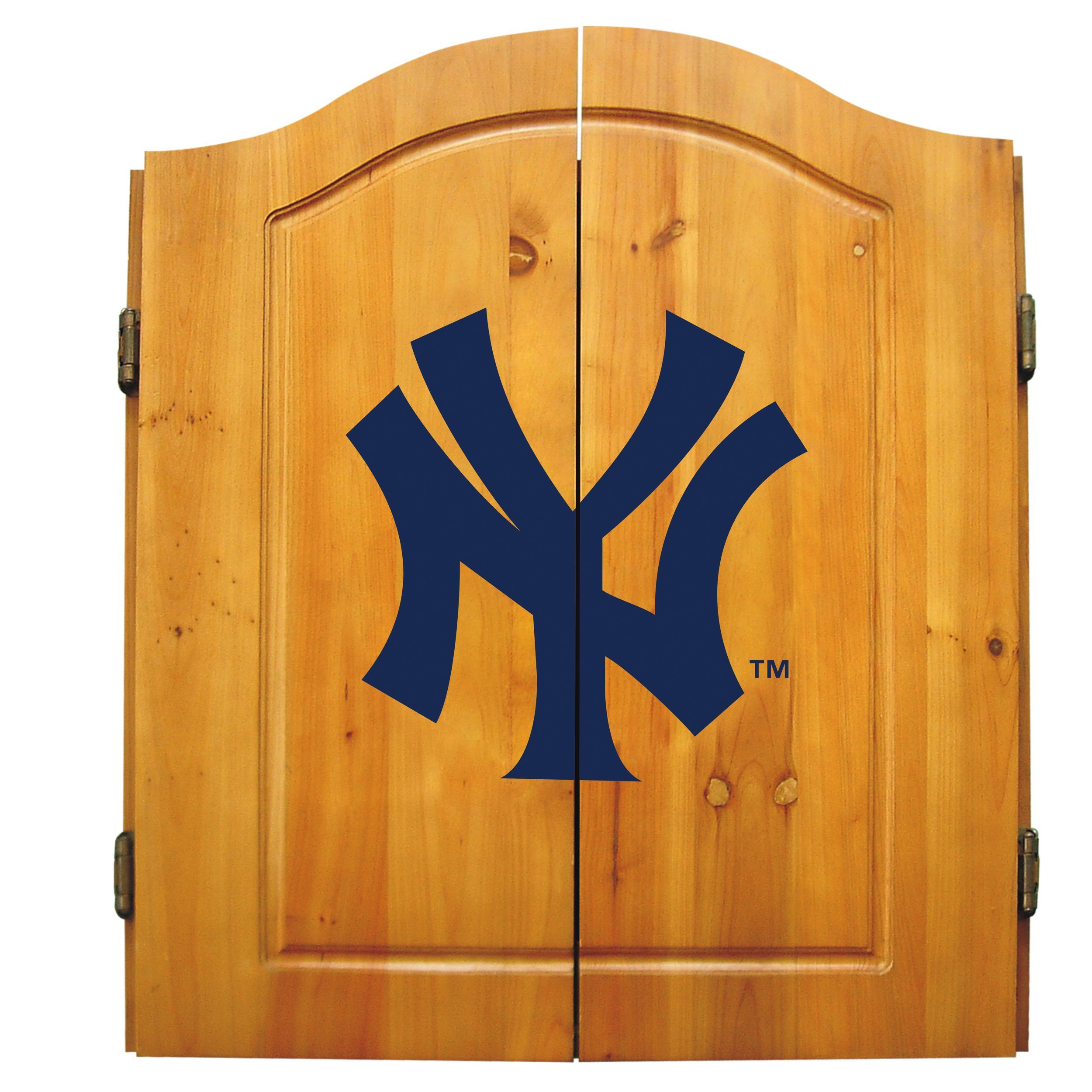 Imperial MLB New York Yankees Wooden Dartboard Cabinet Set