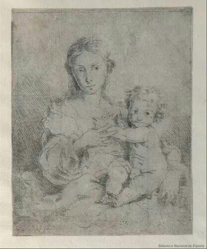 MURILLO, Bartolomé Esteban (1617-1682).  Virgen con el Niño / St.eb Moryllo f.ec - [Sevilla,  h. 1670-1675]. - Estampa: aguafuerte
