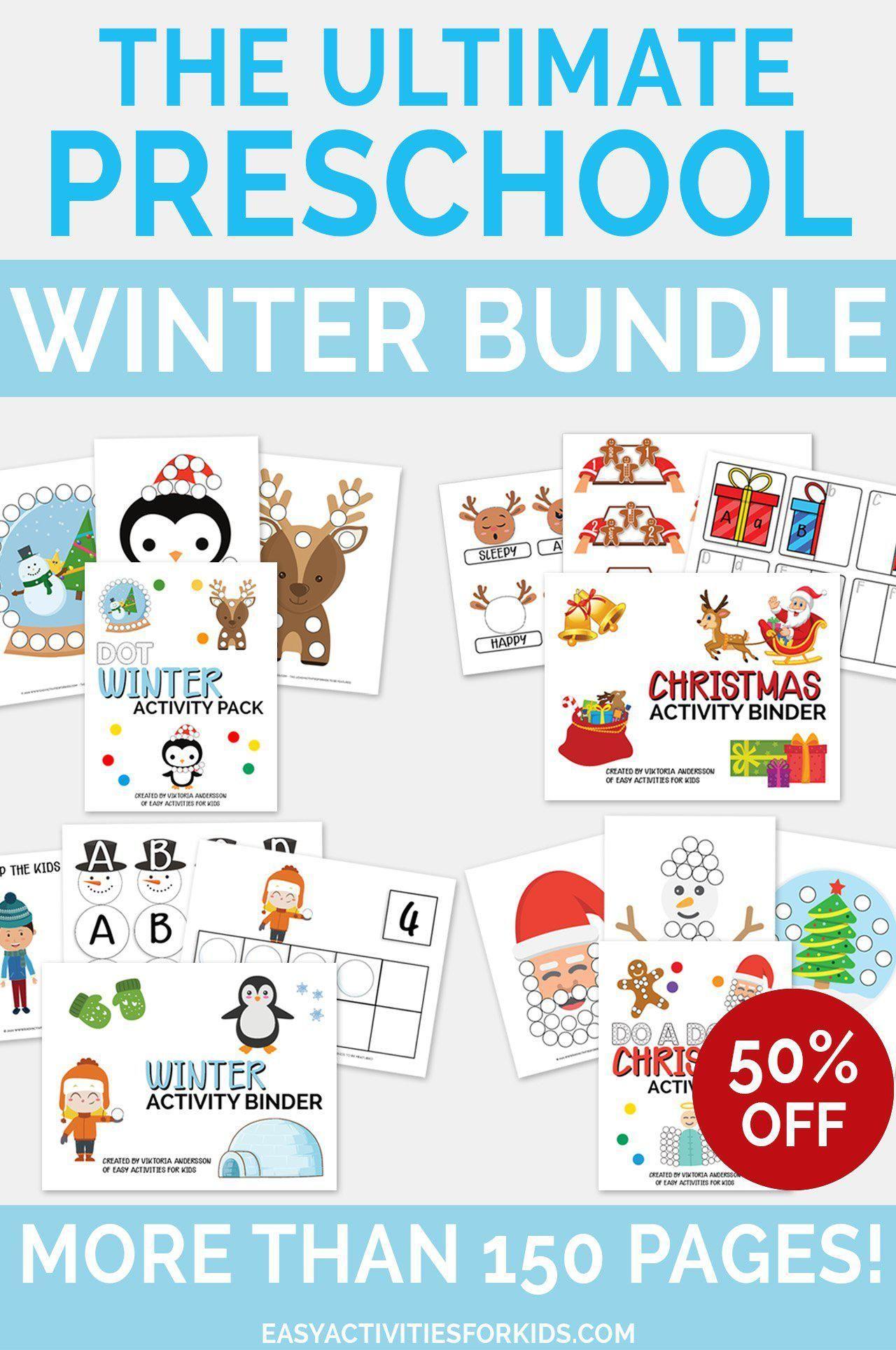 The Ultimate Preschool Winter Bundle Printable Worksheets For Preschoolers Preschool Activities Winter Preschool Preschool
