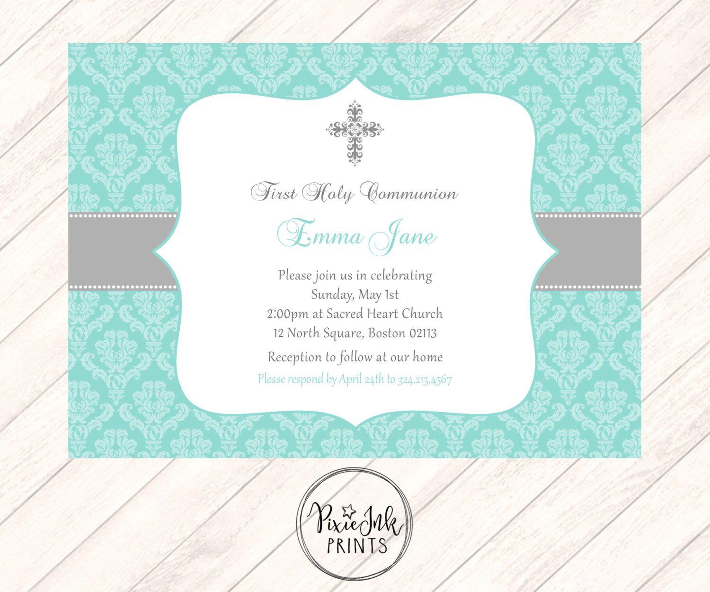 Turquoise Communion Invitation Turquoise 1st Communion