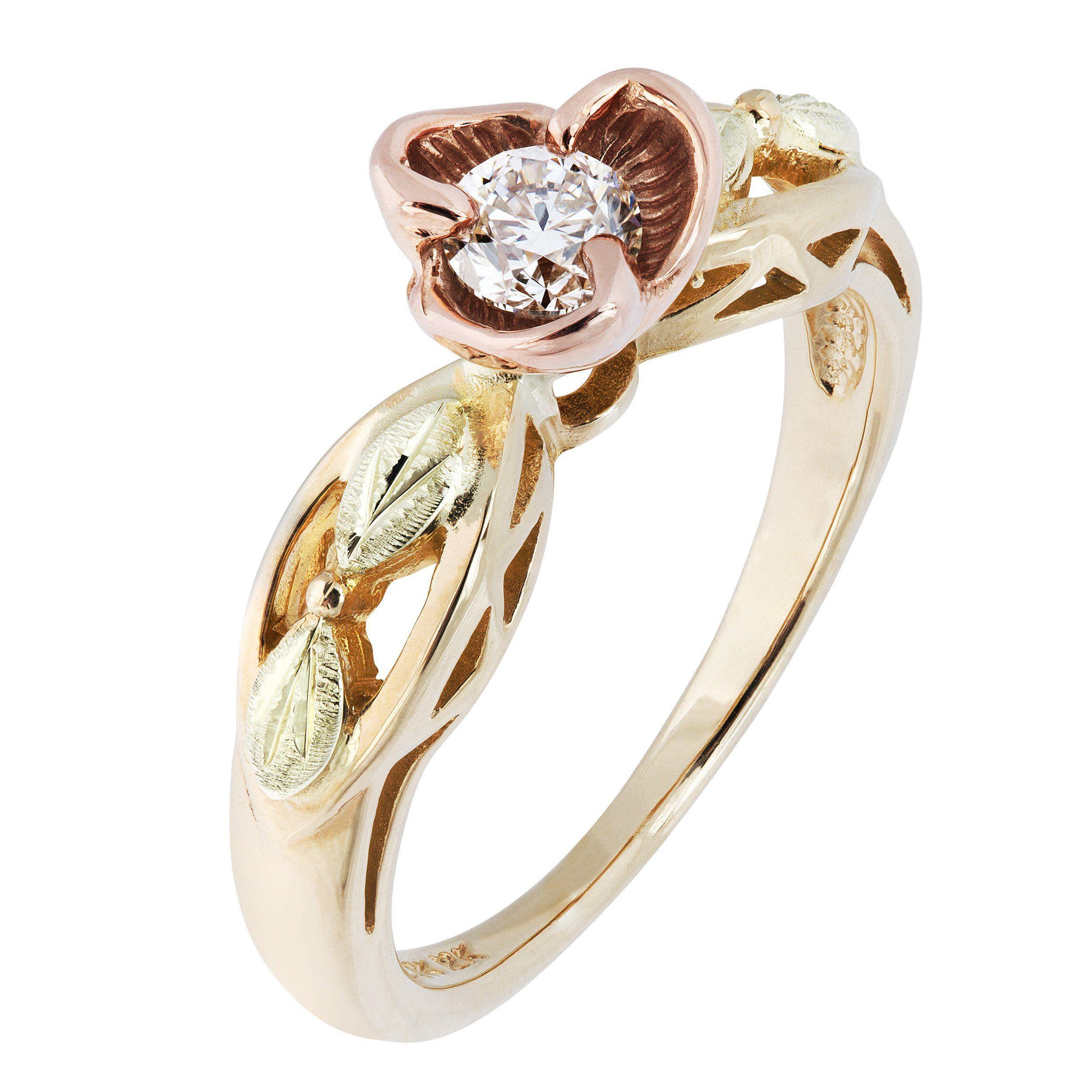Flowering Diamond Black Hills Gold Engagement Ring Black Hills Gold Jewelry Black Hills Gold Wedding Rings Black Hills Gold