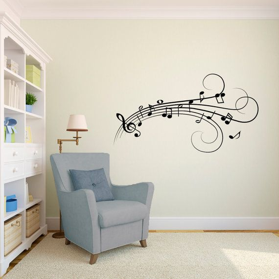 Music notes flowing wall decal vinyl wall art decal custom stickers for musicians choir rooms singers studios