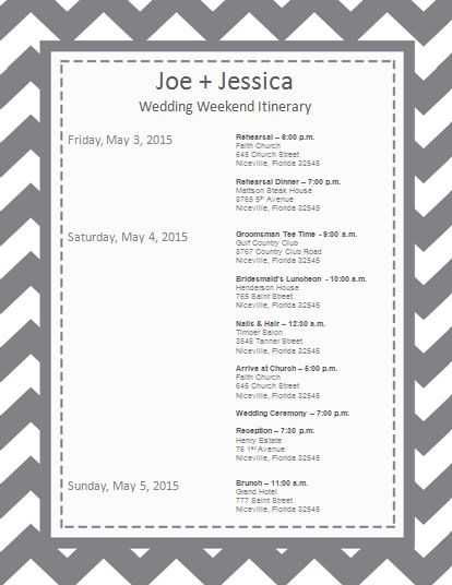 Wedding itinerary wedding itinerary template bridetodo for Wedding rehearsal schedule template