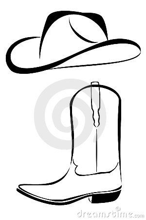 western black and white clip art tribal cowboy hat and boot rh pinterest com Cowboy Belt Buckle Clip Art Cowboy Rope Outline