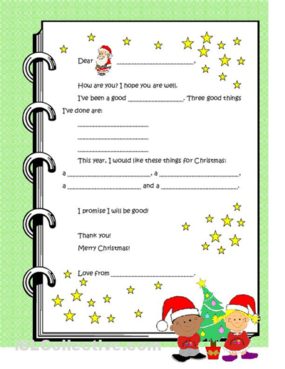 Dear Santa Letter Template For Kindergarten  Letter To Santa