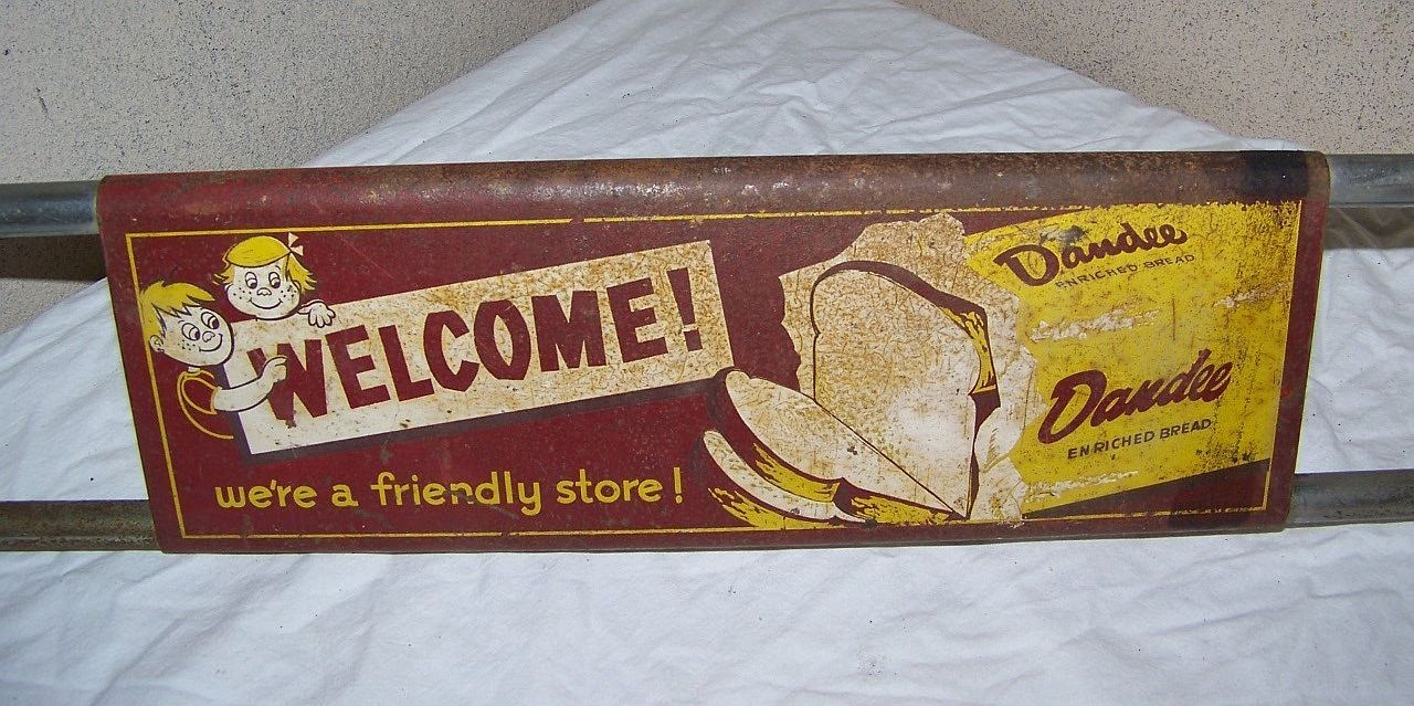 Dandee Bread Door Push Sign Vintage 1950 Pull Bar Metal Grocery