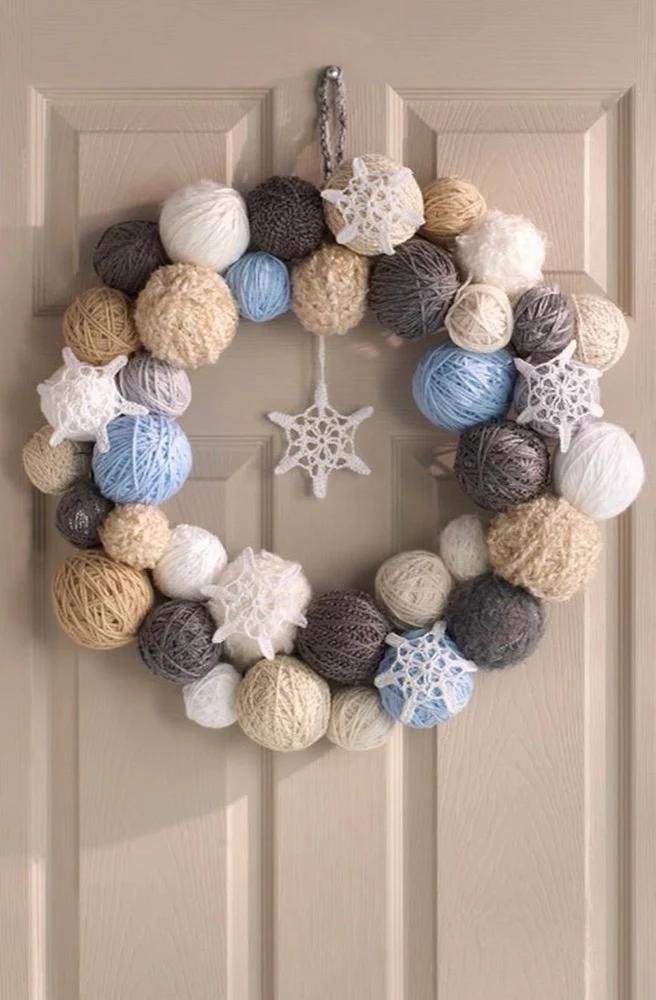 Photo of Snowflake Wreath in Red Heart Light & Lofty – LW3520 | Knitting Patterns | LoveKnitting