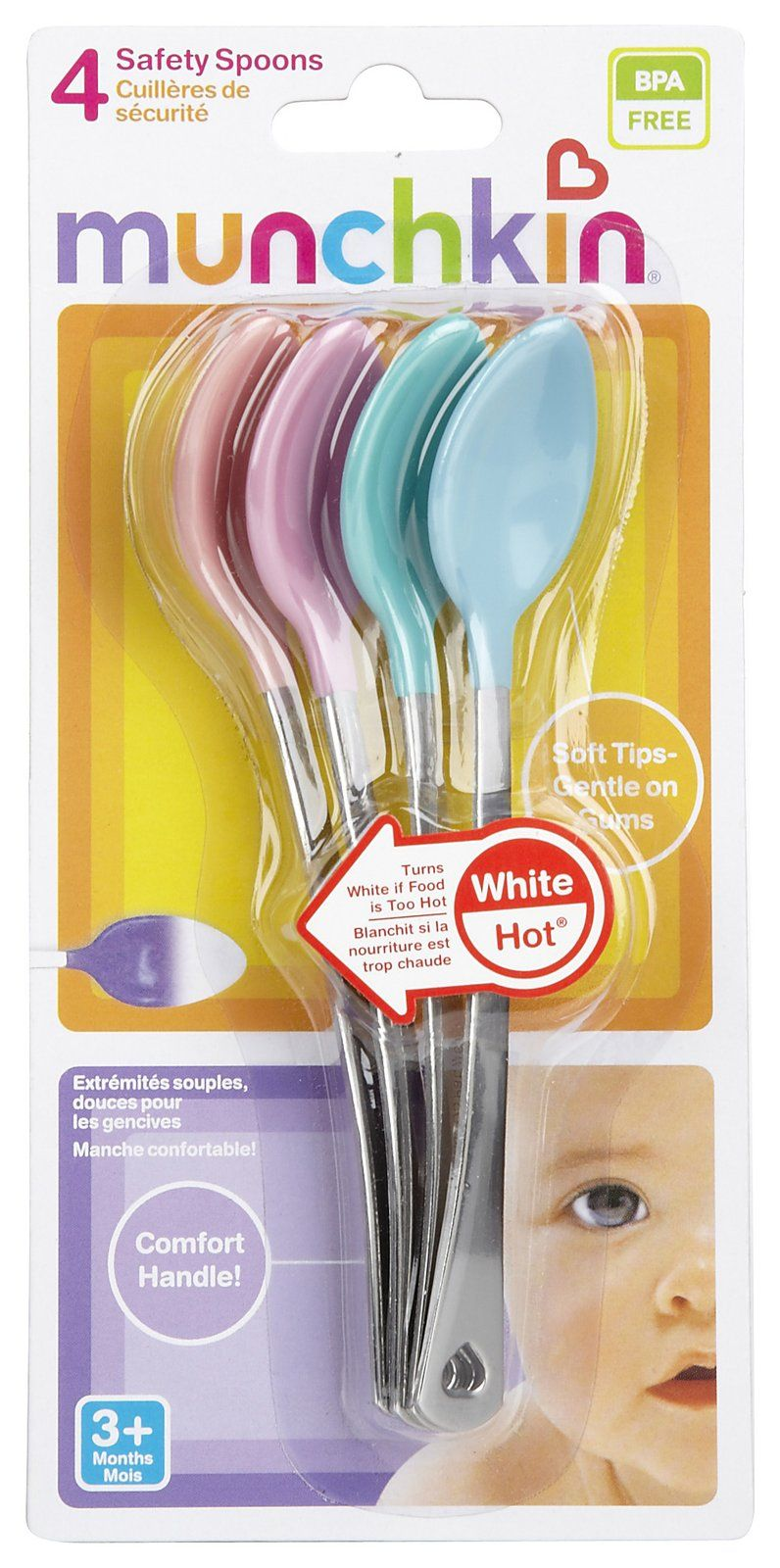 The spoons come with a built-in heat sensor, which turns white at 110F/43.3 C, indicating that the food is too hot for kids.