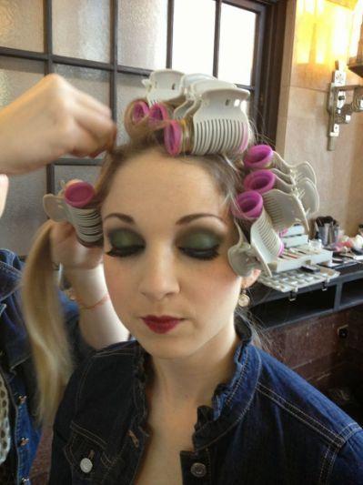 sissy boy in hair rollers pin on sissy hair