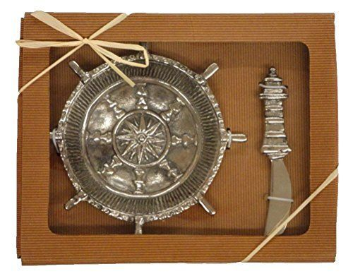 Nautical Ships Wheel Dip Bowl with Lighthouse Spreader