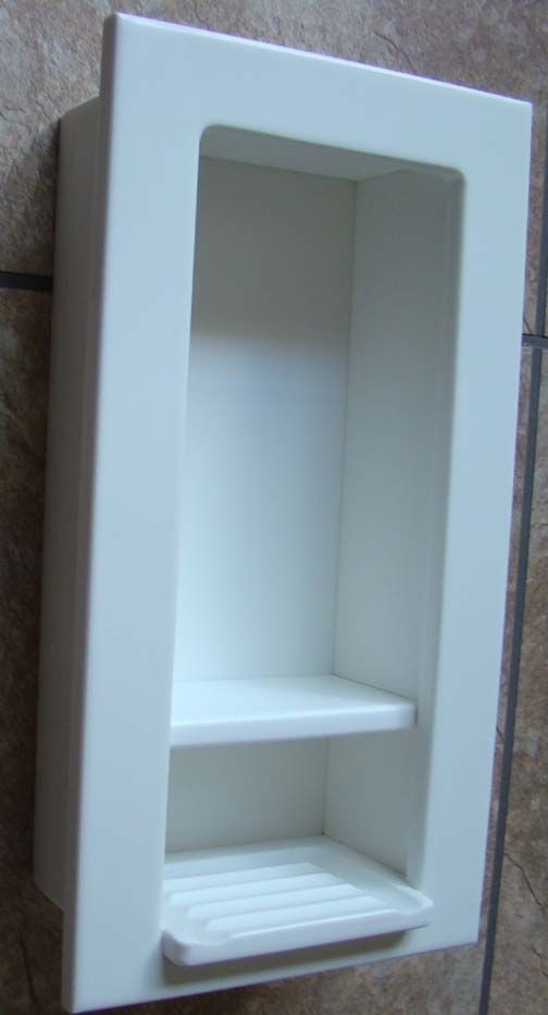 Clean Lined White Recessed Soap Shampoo Caddy Ok If It