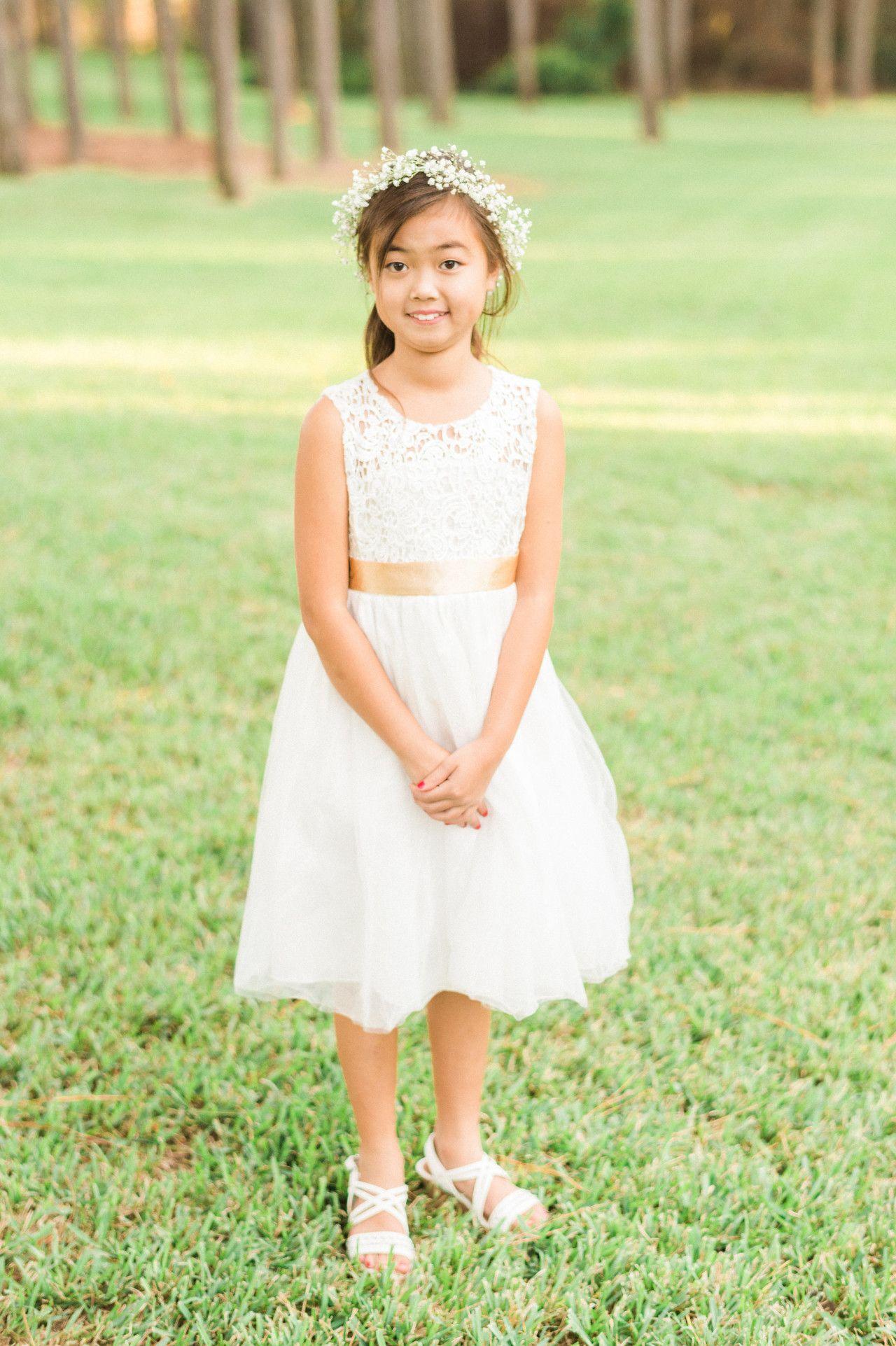 White lace flower girl dress babyus breath flower girl crown