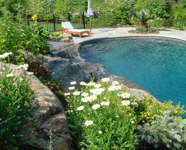 Love The Boulders Around This Pool Inground Pool Landscaping Landscaping Around Pool Backyard Pool Landscaping