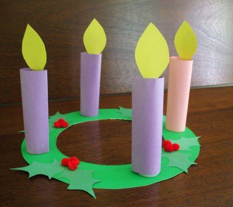 Adventskranz basteln mit kindern papier klopapier for Kindergottesdienst herbst
