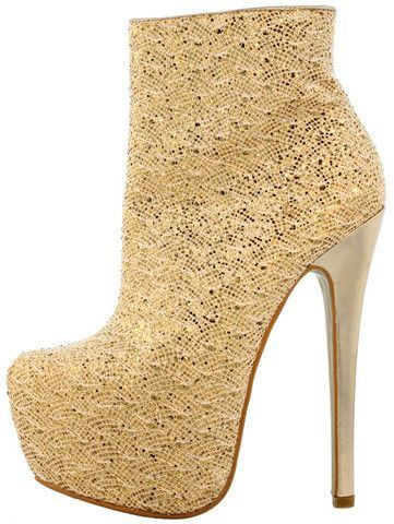 CLAUDIA01 GOLD GLITTER PLATFORM ANKLE BOOT
