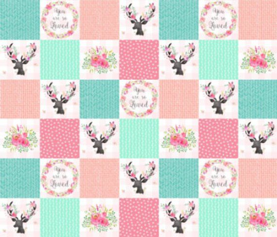 You Are So Loved Deer Patchwork Nursery Quilt Fabric Pink