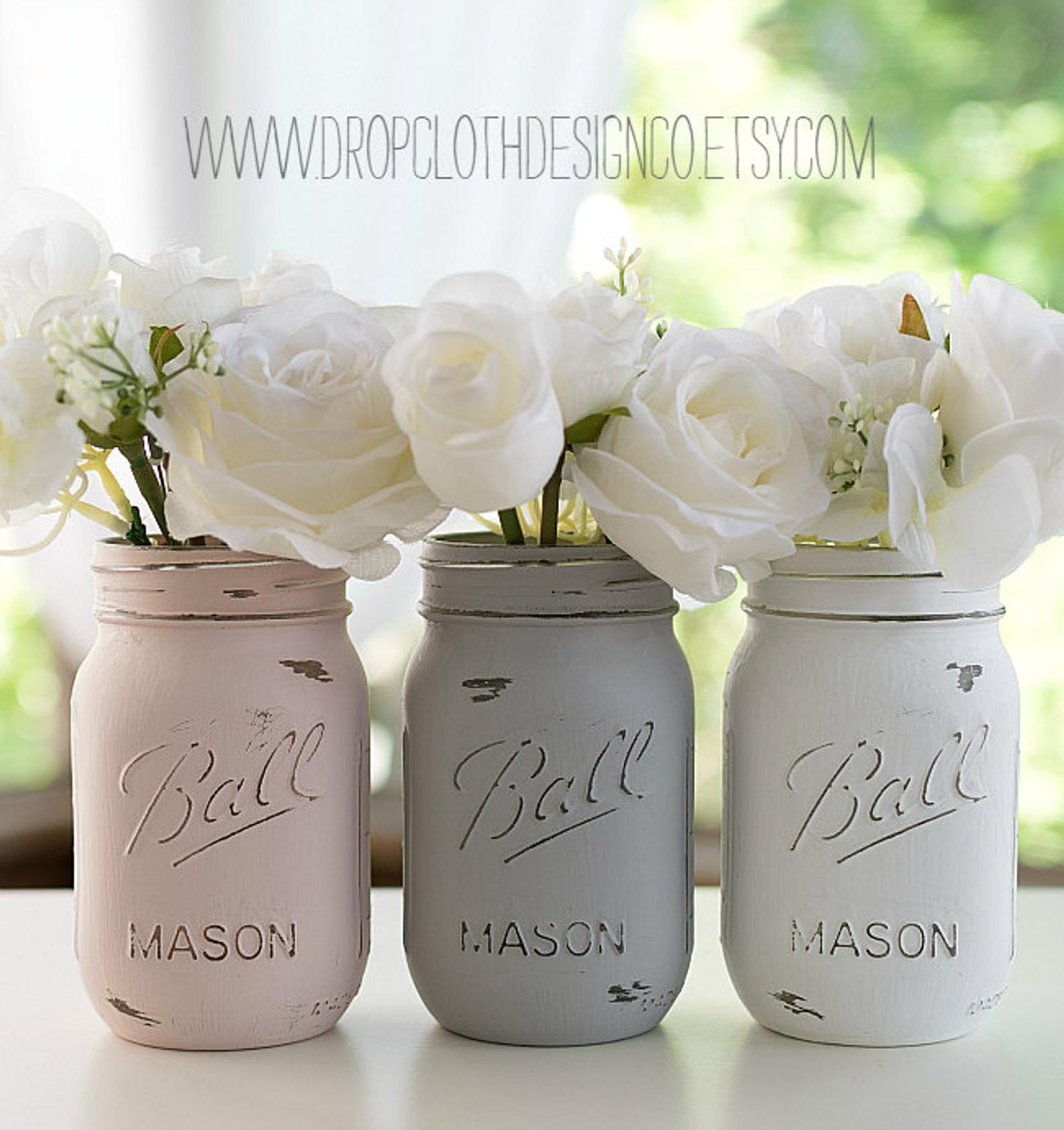 Pink, Gray, White Painted Mason Jars – Weddings, Showers, Parties, Home Decor – Set of 3