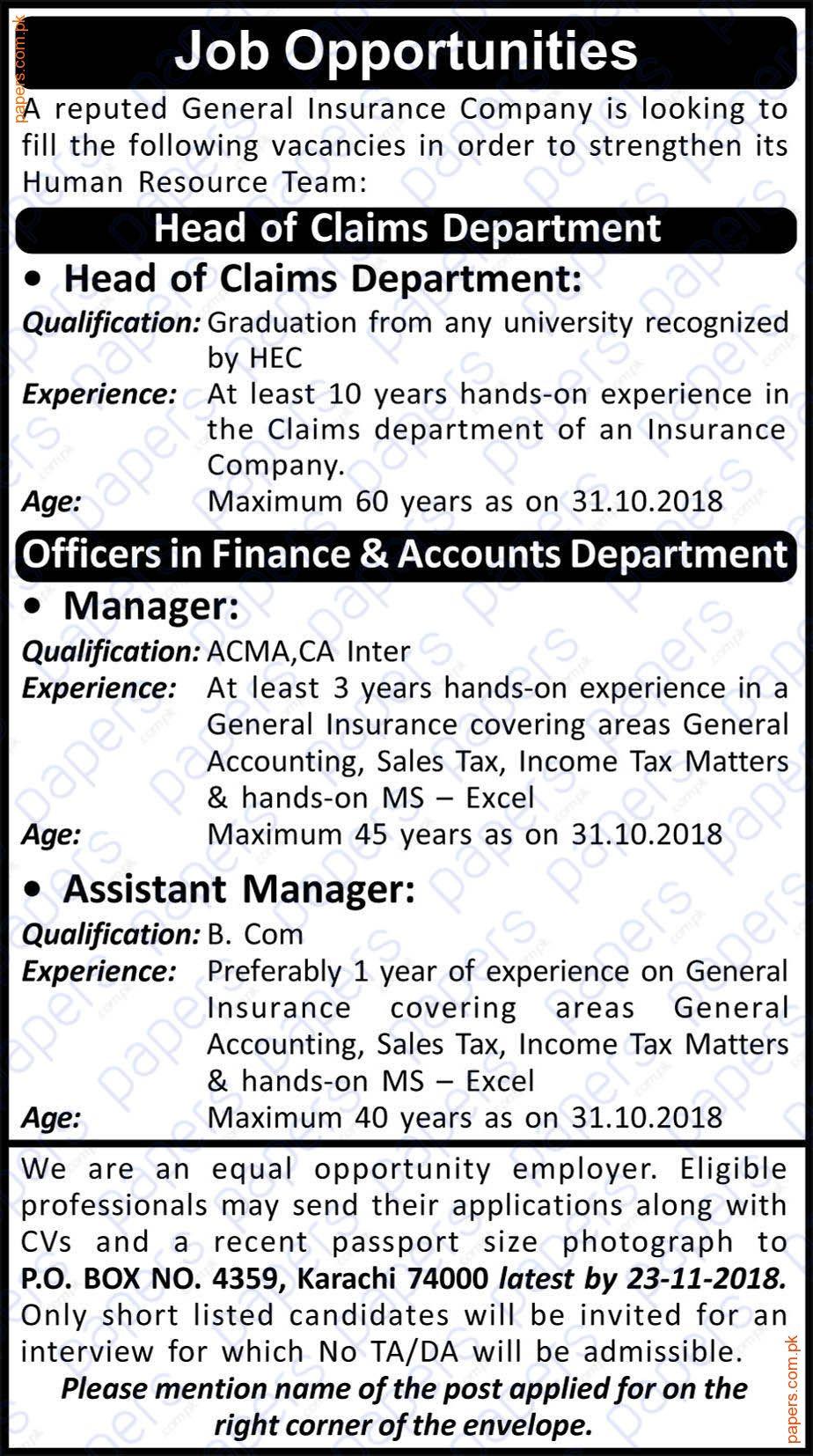 Jobs In General Insurance Company Karachi Insurance Company Job