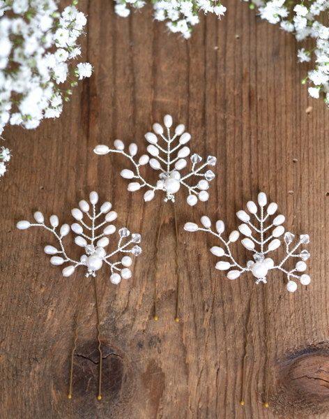 Horquillas de novia conjunto de 3 pasadores de por JoannaReedBridal