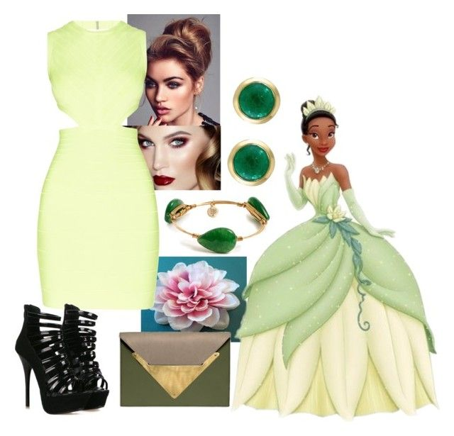 """Tiana - PARTY"" by blackest-raven ❤ liked on Polyvore featuring Hervé Léger, Dareen Hakim, Bourbon and Boweties and Effy Jewelry"
