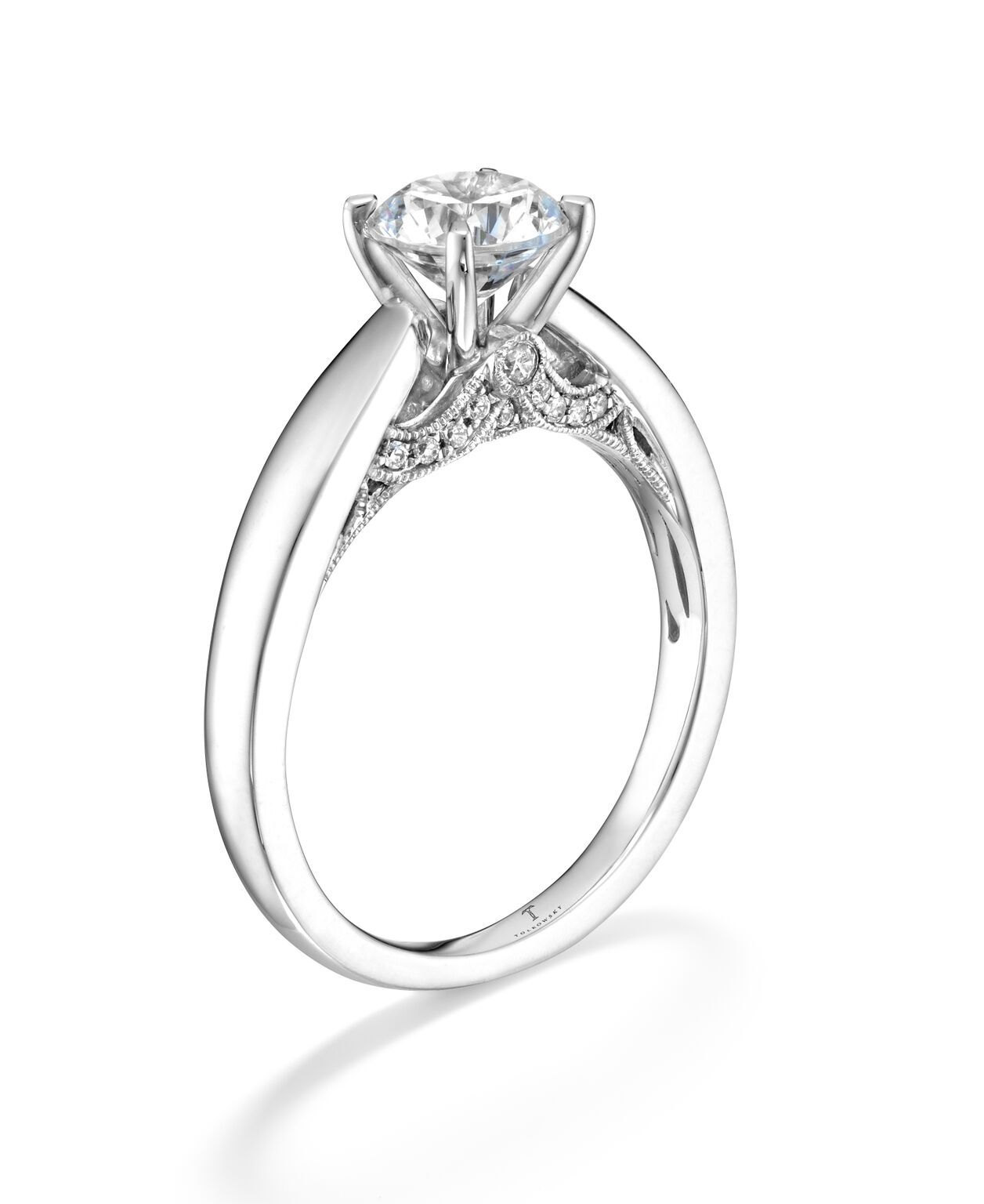 Tolkowsky Diamond Solitaire Engagement Ring in 14K White Gold. Available through Kay Jewelers in the US.
