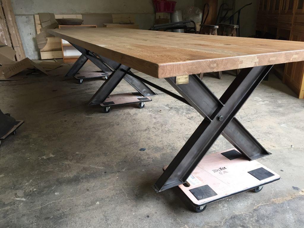 Beau Immense Table En Chêne Massif Cuisine Salon Salle à Manger Du0027hôte Loft De 4  M