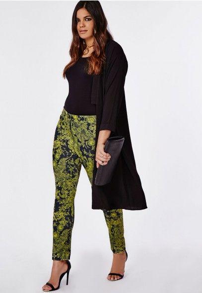 Plus Size Lace Print Tapered Pants - Plus Size Pants - Women's plus size - Missguided +