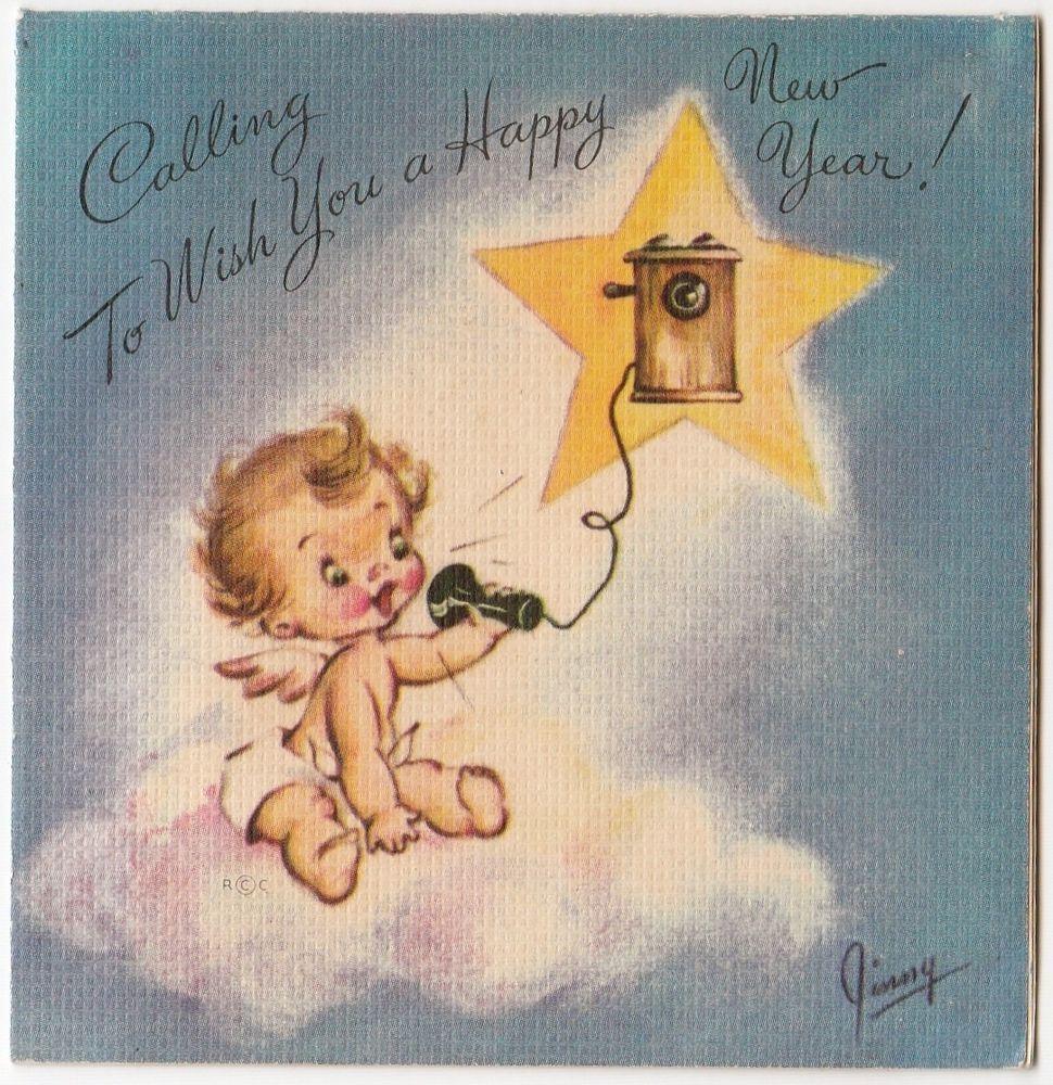 Vintage Greeting Card Christmas Angel Telephone Rust Craft 1940s