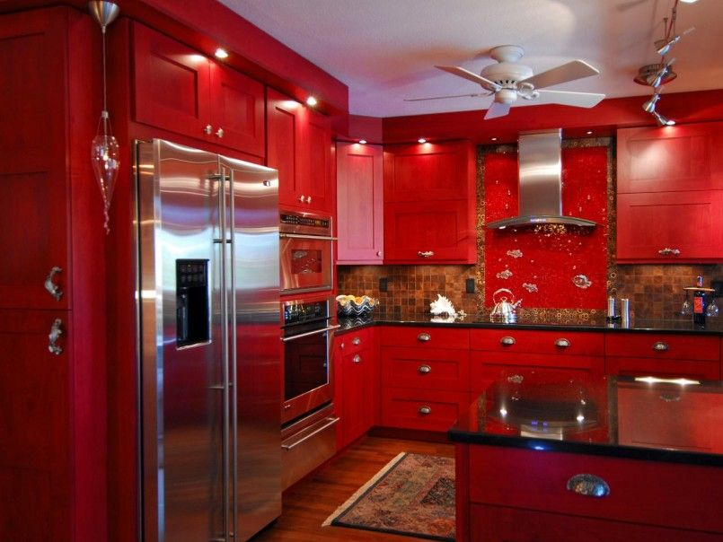 Best Red Painted Kitchen Cabinet With Brown Tile Back Splash 400 x 300