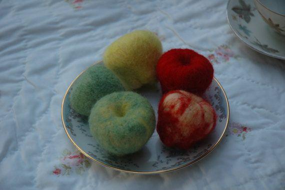 Five Apple Play-Food Set by Shamblewood on Etsy