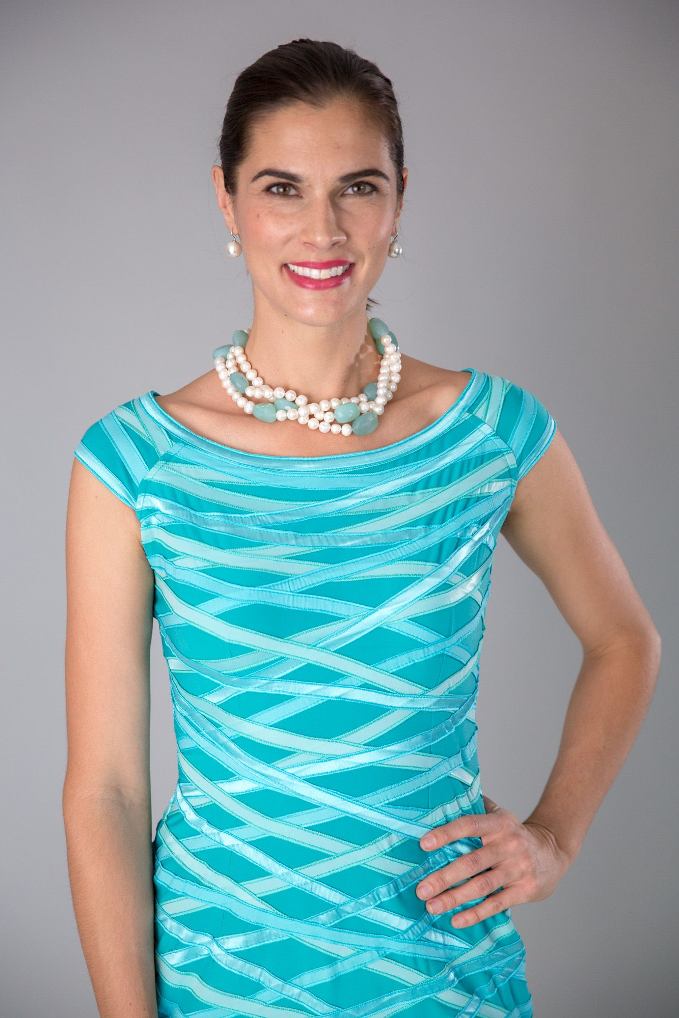 Beach wedding mother of the bride  What a colour Aquamarine turquoise  for the modern and elegant