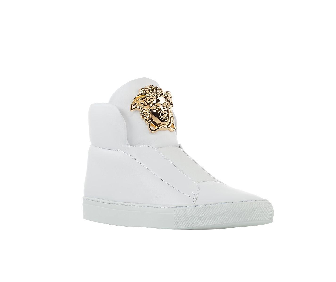 05f4c8bdc5 Versace Slip-On High-Top Leather Sneakers. #VersaceSneakers #Versace ...