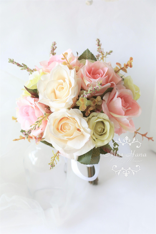 Pin by miss hana on silk flower bouquet pinterest silk flower silk flower bouquets pink bouquet bridesmaid bouquets bridesmaids blush pink weddings light rose bodas receptions izmirmasajfo Gallery