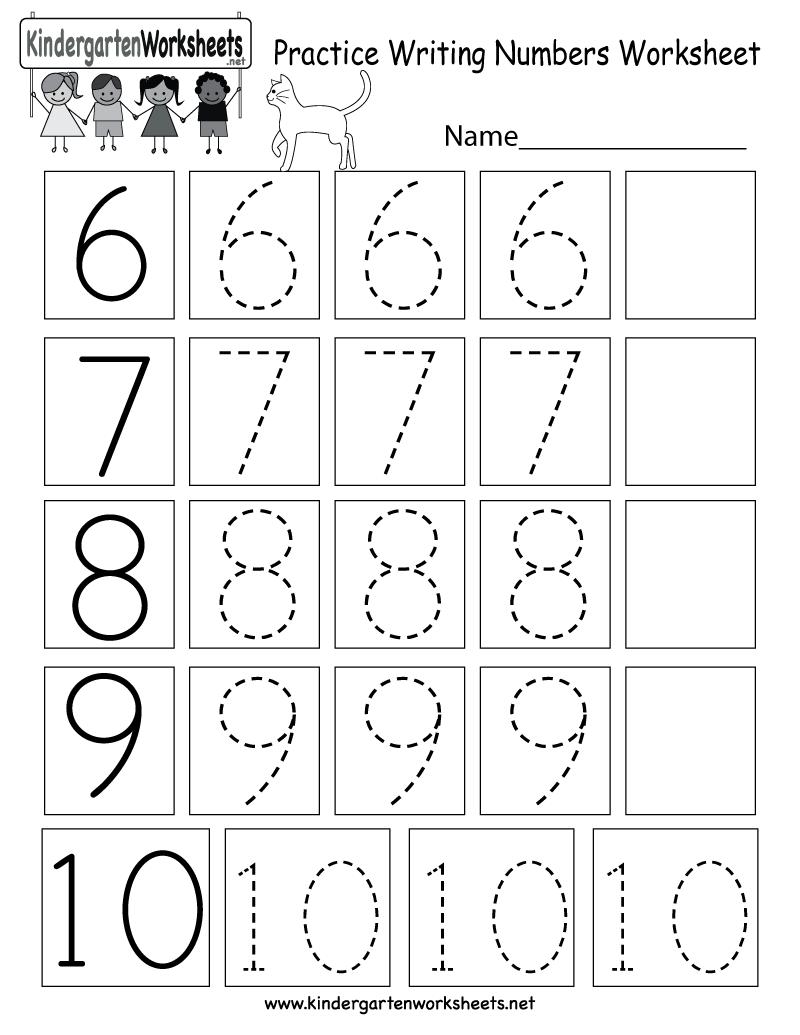 Kindergarten Practice Writing Numbers Worksheet Printable | Schoolin ...
