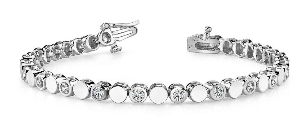 Beautiful Bezel Set Round Diamond Lady Men Bracelet White Gold 5 40ct Bracelets For Men Link Bracelets White Gold