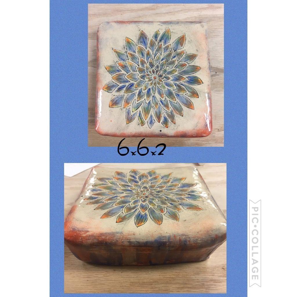 Footed ceramic tile mishima surface design with under glaze footed ceramic tile mishima surface design with under glaze dailygadgetfo Images