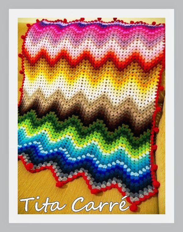 Colcha Zig-Zag Multicolorida em crochet