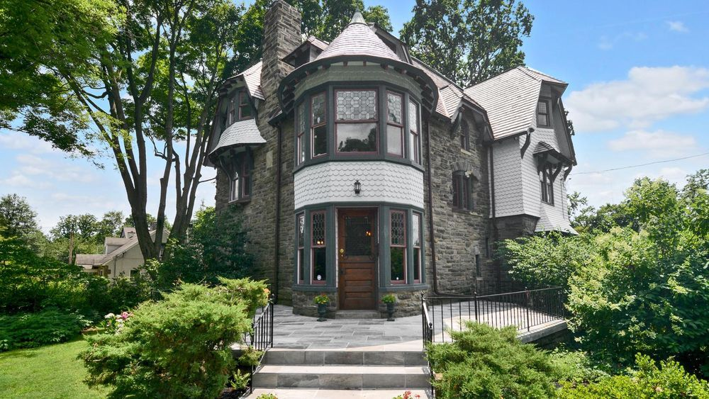 The home was built in 1888 by architect Theophilus P. Chandler, the founder of the architecture program at Penn. The house is eclectic in that it's a combination of a Victorian and a classic Chestnut Hill stone home.