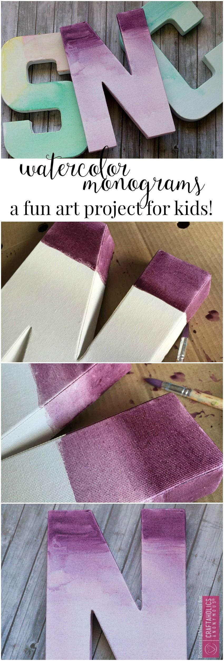 easy watercolor monogram tutorial toiles peindre et. Black Bedroom Furniture Sets. Home Design Ideas
