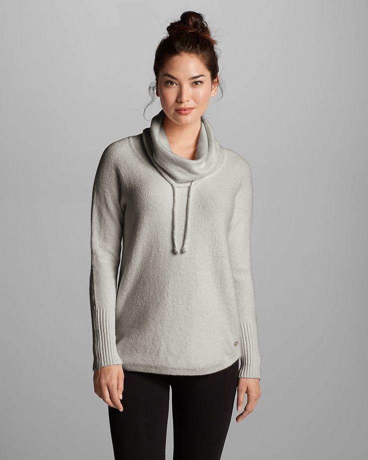 Women's Funnel-neck Pullover Sleep Sweater | Eddie Bauer — heather grey, size small