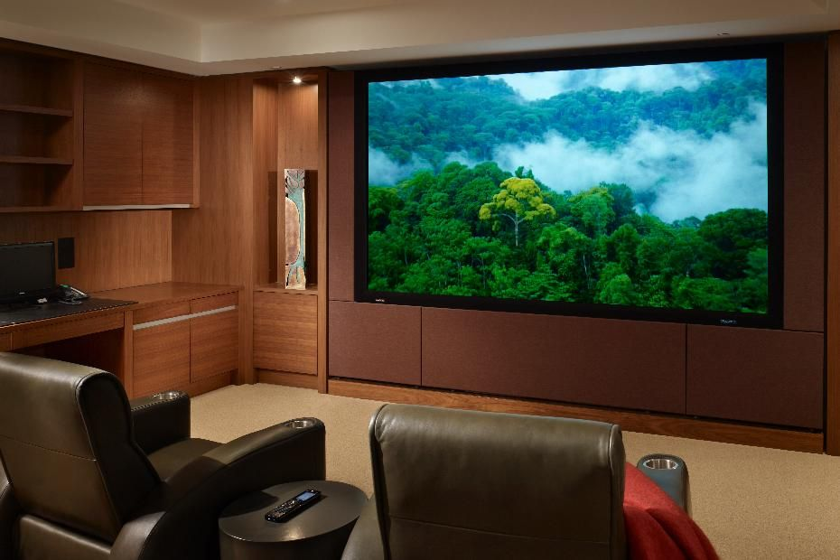 Sophisticated Home Theater Design. #hometheater #projector Home Theatre,  Surround Sound, Plasma