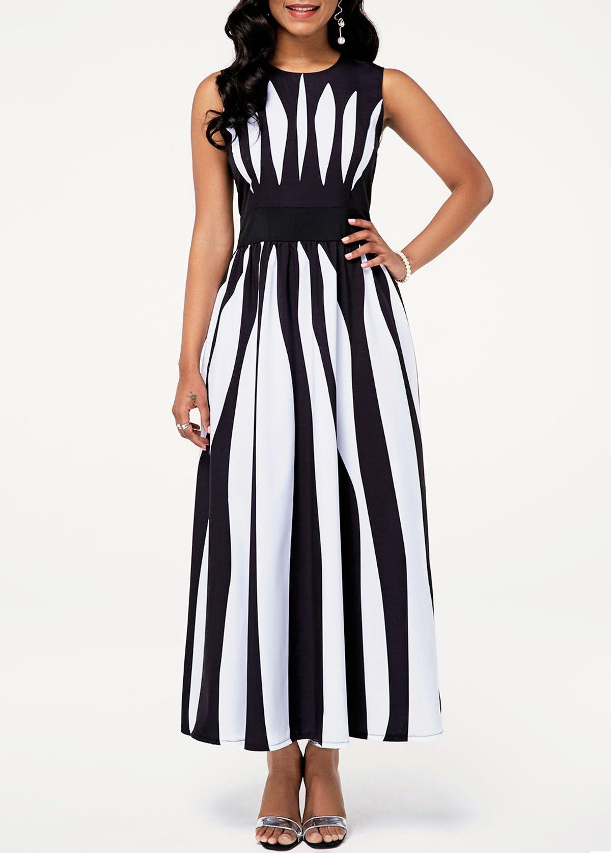 8c3097b229b Round Neck Sleeveless High Waist Stripe Print Dress