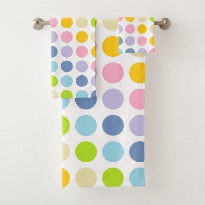 Pastel Rainbow Polka Dots Bath Towel Set Zazzle Com Towel Set