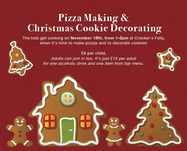 #Crocker's gets down with the #kids on #Saturday lunchtime! Join us 4 #pizza making & #Christmas cookie decorating 1pm - 3pm. Just turn up!