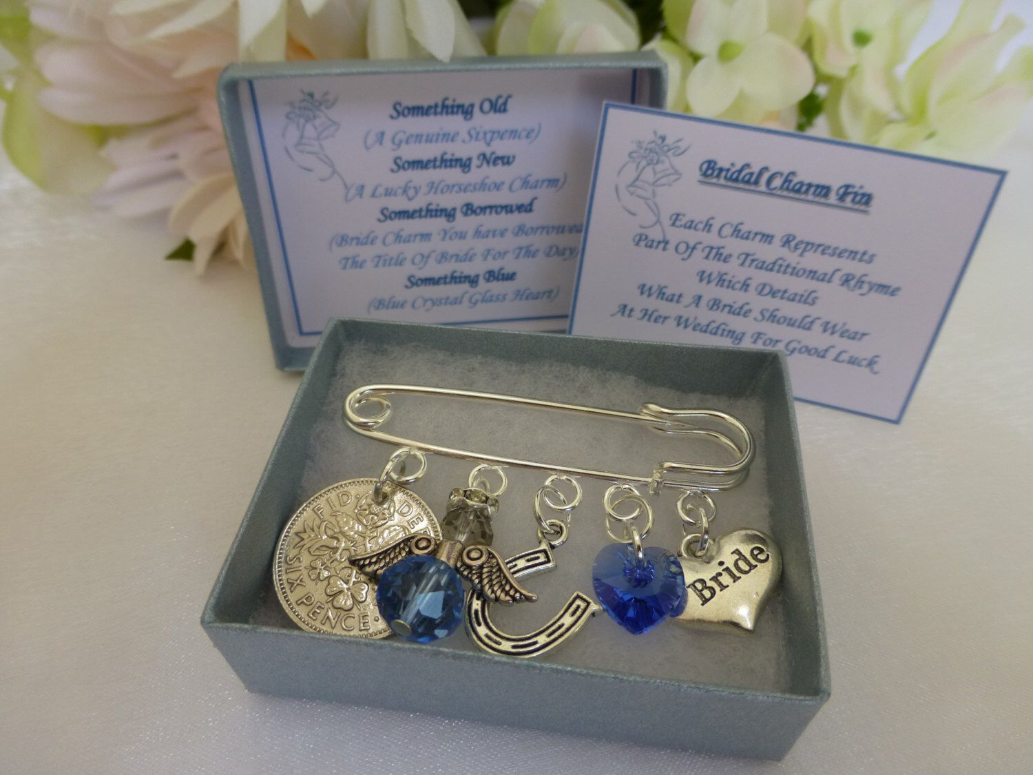 Something Blue Bridal Heart For Her Bouqet