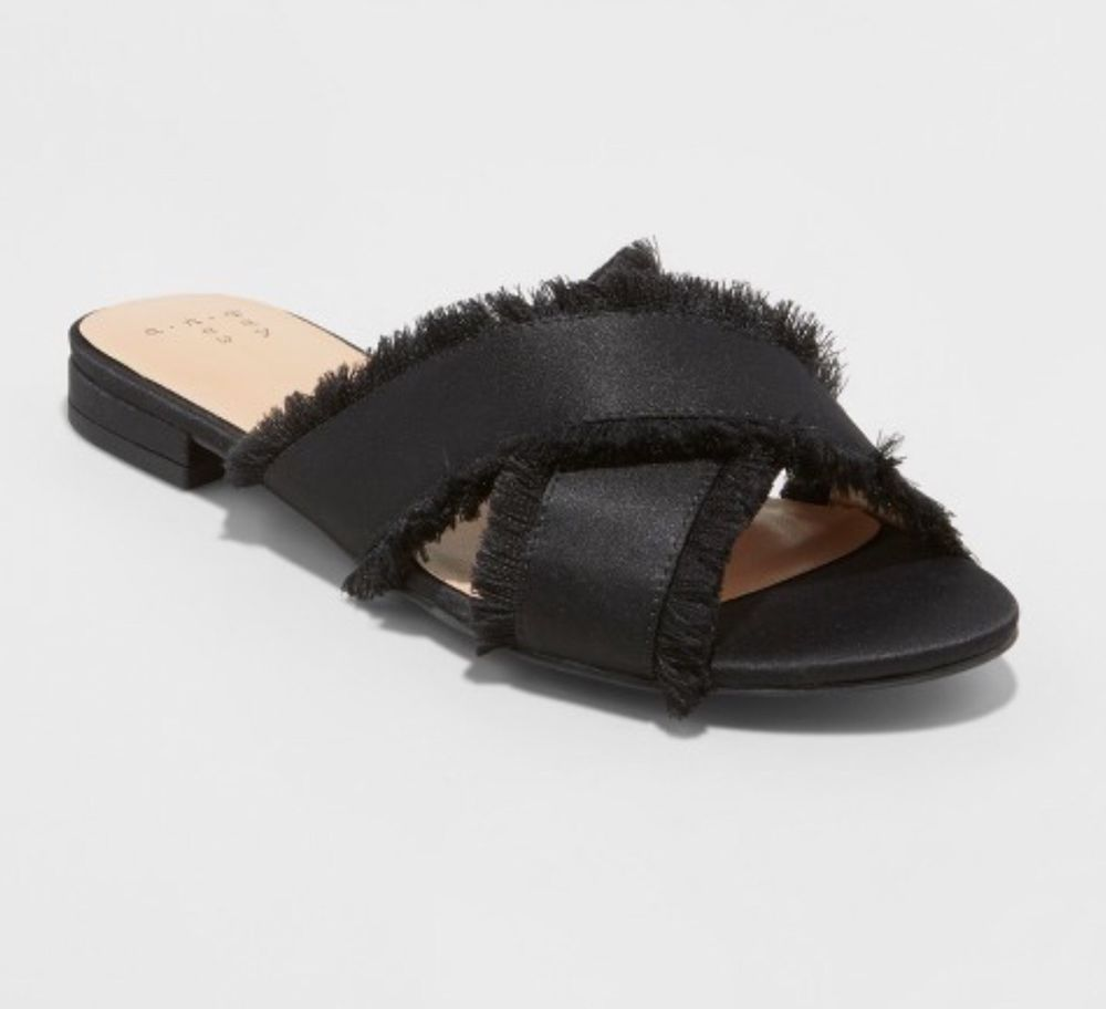 73ec02b6ae86 A New Day Black Sephorie Slide Sandals Sz 9 Satin Crossband Shoes Frayed  NWT  ANewDay  Slides  Versatile