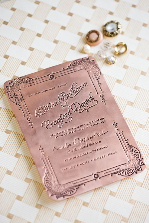 Custom Pressed Copper Invitation By Southern Fried Paper Invitations And Event Branding Wedding