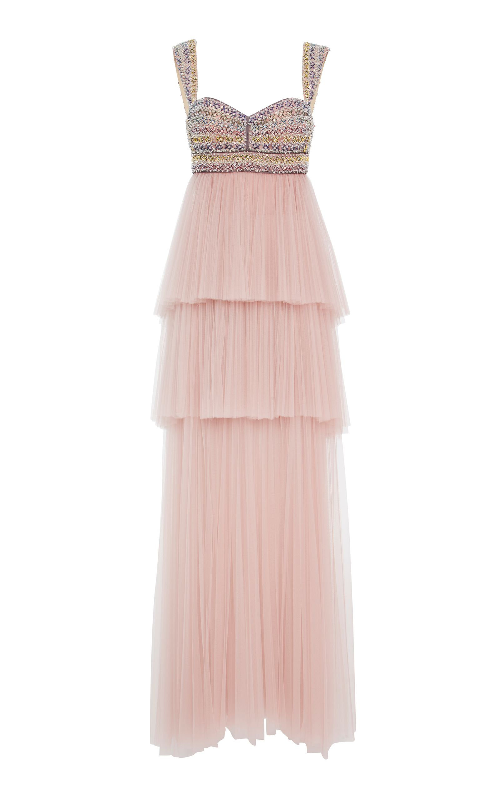 02fdb040d0 J. MENDEL EMBROIDERED BODICE GOWN WITH TIERED TULLE SKIRT.  j.mendel  cloth