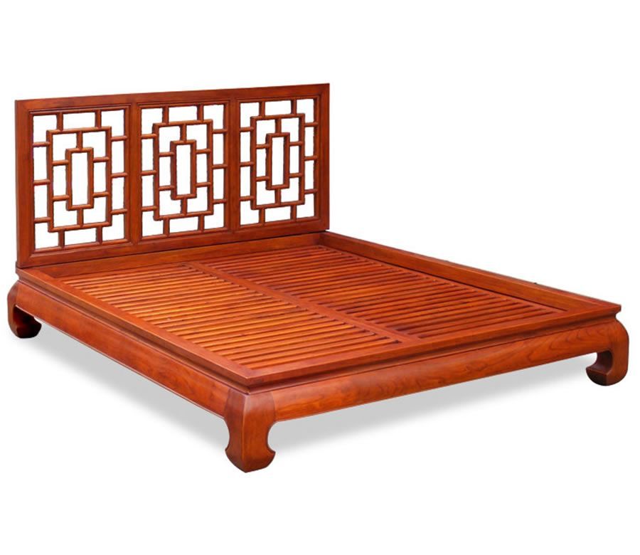 Elegant Chinoiserie of Elmwood Ming Queen Size Bed Set for Bedroom Furniture  by China Furniture and